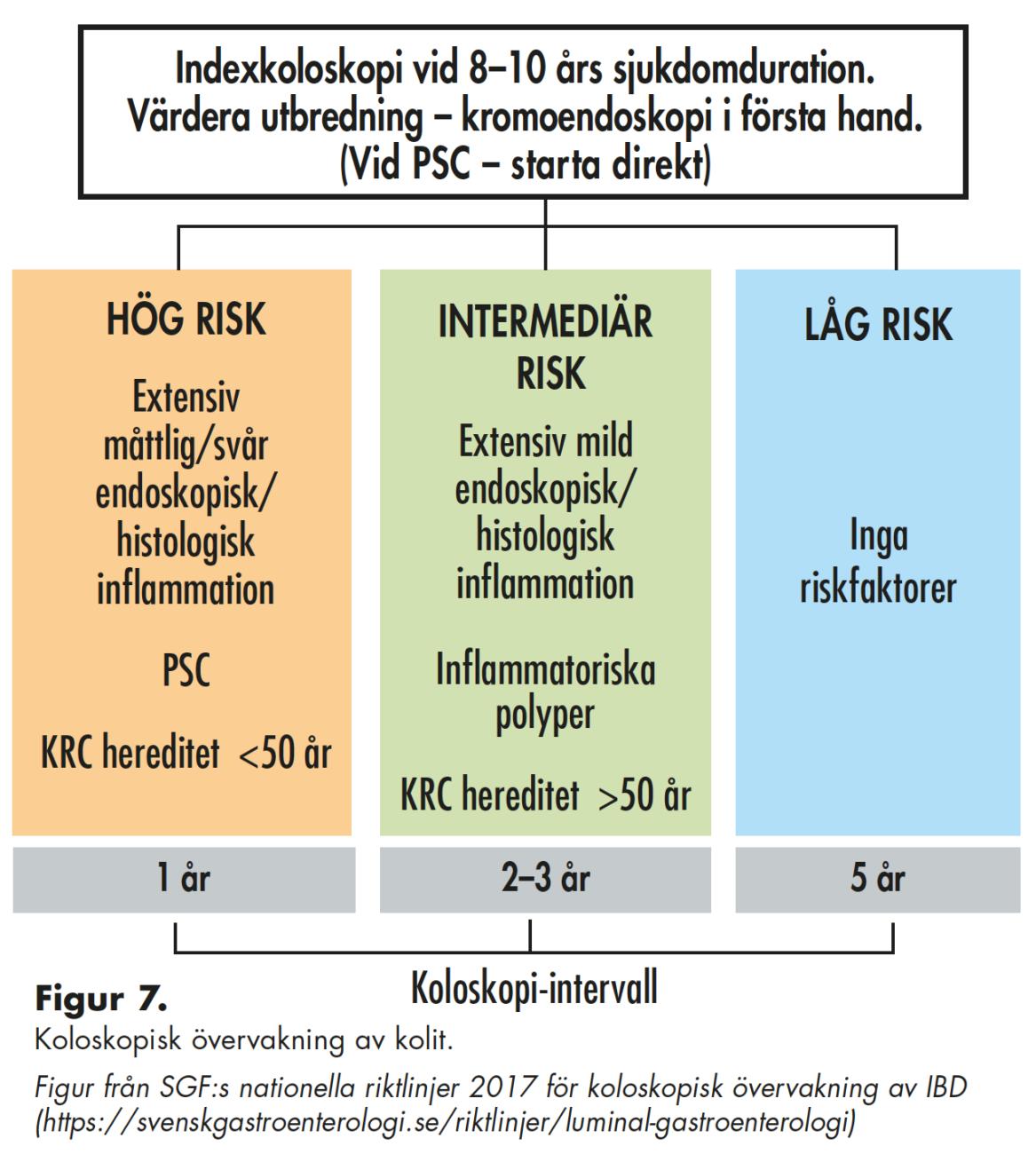 Indexkoloskopi vid 8–10 års sjukdomduration. Värdera utbredning – kromoendoskopi i första hand. (Vid PSC – starta direkt)